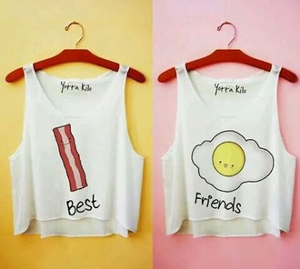 shirt bacon egg crop tops tank top summer bff