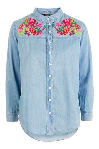 shirt denim denim shirt embroidered embellished topshop