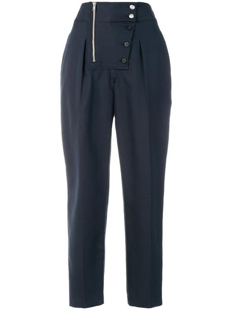 CALVIN KLEIN 205W39NYC pants cropped women cotton blue silk