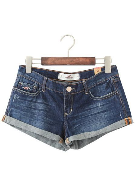 Women's trouser legs turnup seagull stitchwork denim shorts online