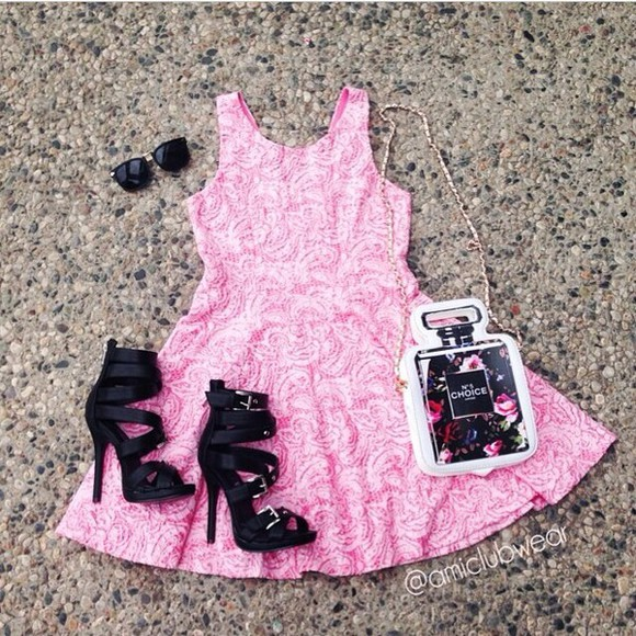pink dress sunglasses black high heels purse bag