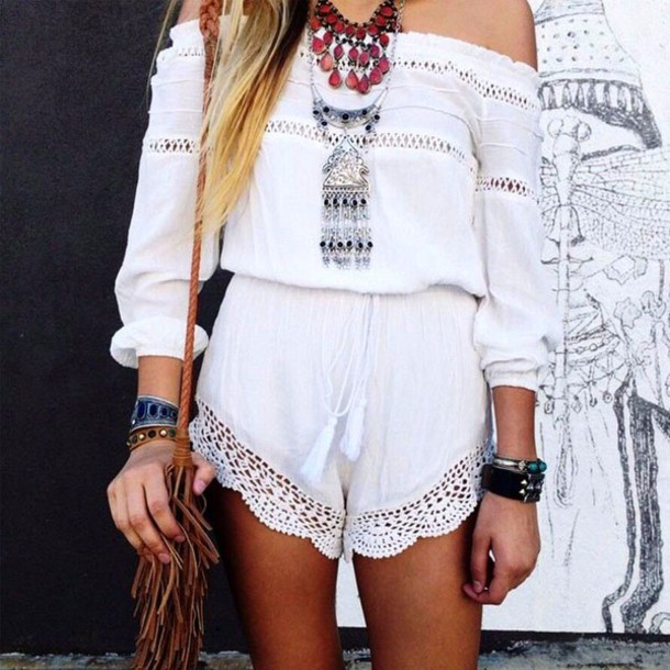 bd3d88cb4237 romper white lace crochet white lace white jumpsuit white shorts white  blouse white top white off