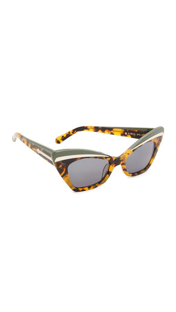 7a47200f106 Karen Walker Babou Sunglasses - Crazy Tort Khaki G15 Mono - Wheretoget