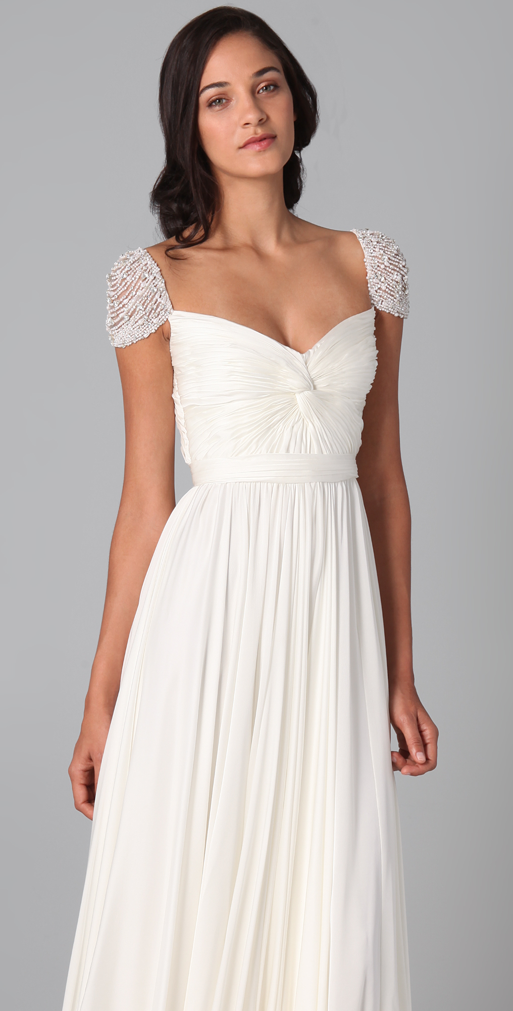 Chiffon white long prom dresses evening dress with beading best cheap