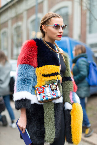 coat fur fur coat streetstyle hairstyles purse colorful fashion week 2016 milan fashion week 2016 sunglasses big fur coat multicolor patchwork cat eye braid boxer braid embellished bag stripes