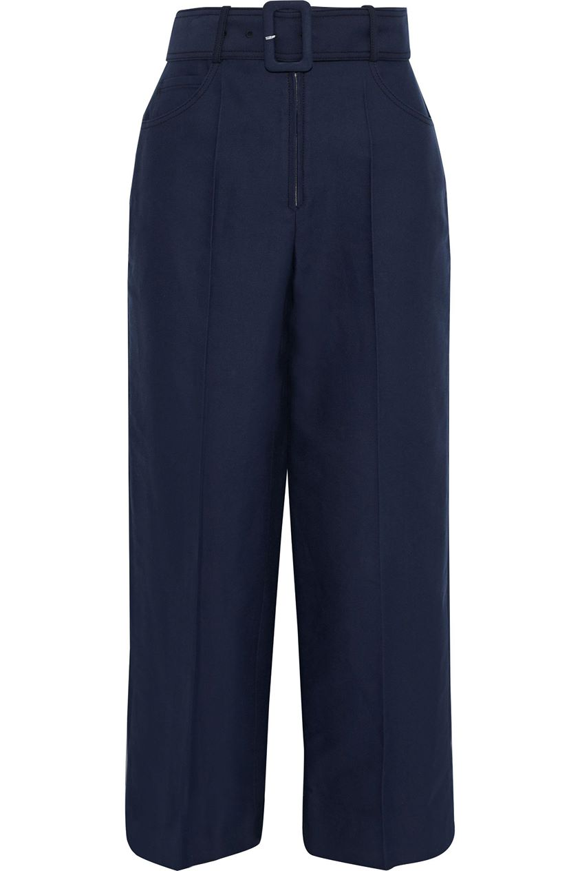Sandro Woman Loes Belted Cotton-blend Straight-leg Pants Navy Size 36