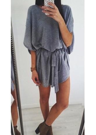 romper grey instagram pinterest model fashion girly girly wishlist girl casual casual dress grey dress outfit pretty