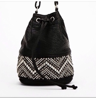 bag leather bag studded bag studs black bucket bag