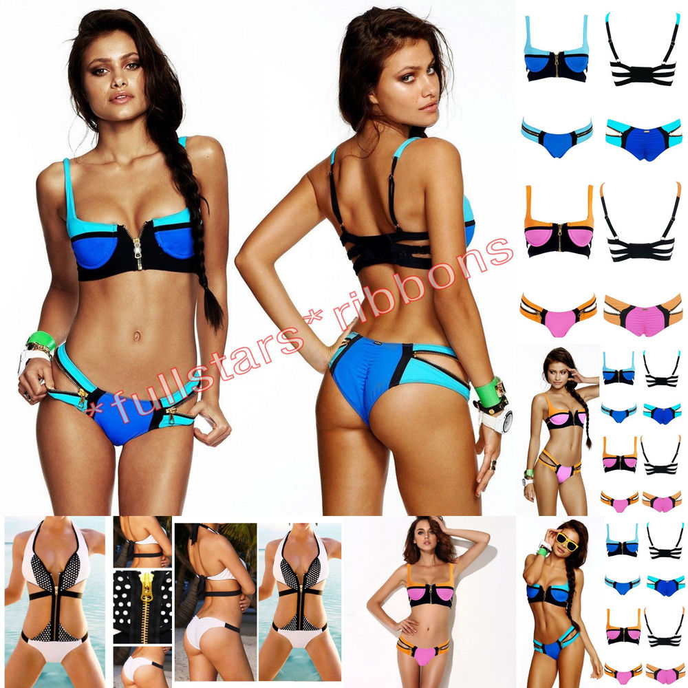 87bcce0661146 Women's Bandage Zip Bikini Set Push Up Padded Bra Swimsuit Bathing Suit  Swimwear | eBay