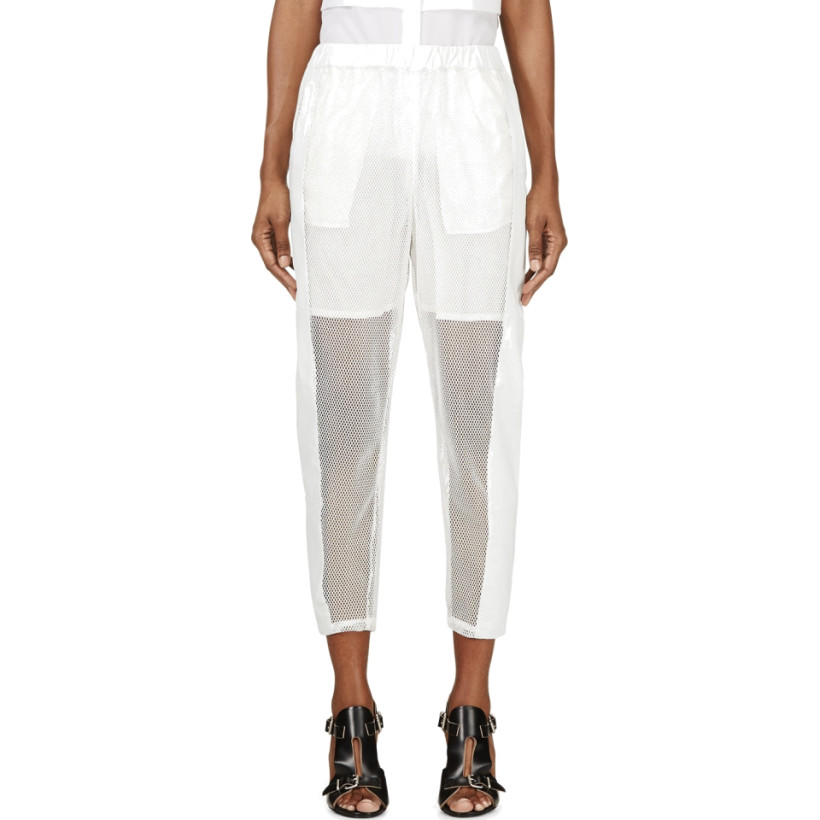 Avelon - White Mesh & Leather Trousers | SSENSE