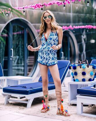 romper tumblr v neck blue romper sandals flat sandals pom poms summer outfits sunglasses aviator sunglasses shoes