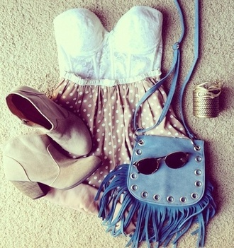 shirt polka dots nude blue bag sunglasses cowboy boots lace white bustier high waisted shorts blue rolled hem corset top boots shorts shoes jewels bag dress summer outfits love  it little bag glasses pink blouse skirt strapless poka dots tan purse light blue hipster happy