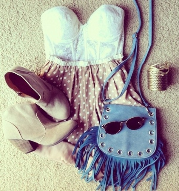 shirt polka dots nude blue bag sunglasses cowboy boots lace white bustier High waisted shorts booties blue rolled hem corset top boots shorts shoes jewels bag dress summer outfits love  it little bag glasses summer pink blouse skirt strapless polka dots tan purse light blue hipster happy