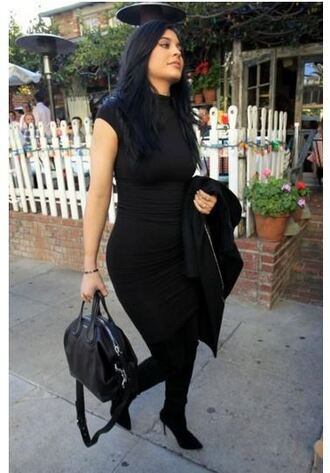 dress all black everything bodycon dress kylie jenner boots purse fall outfits