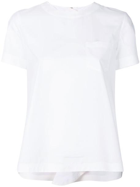 Sacai back zip women white cotton top