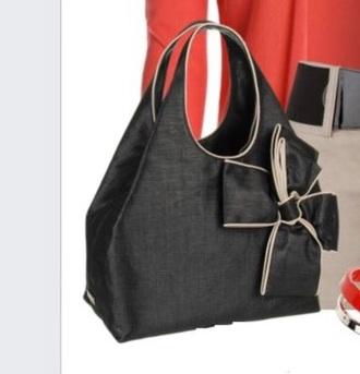 bag black tan bow handbag