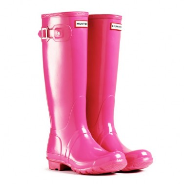 Hunter Original Gloss Fuchsia Pink Wellington Boots