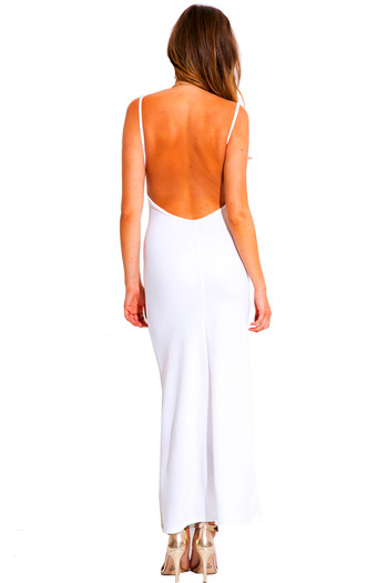 All white v neck textured backless spaghetti strap fitted formal evening cocktail party maxi dress