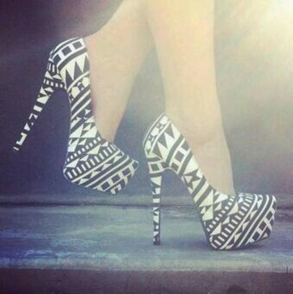 aztec high heels shoes white black