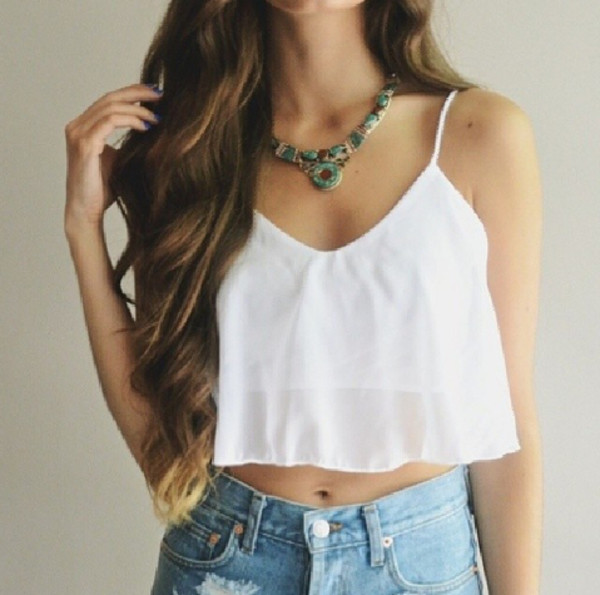 top crop topcrop white top top tank top white tank top white tank top High waisted shorts high waisted denim short denim shorts denim jewels jewelry necklace necklace green necklace hippie boho