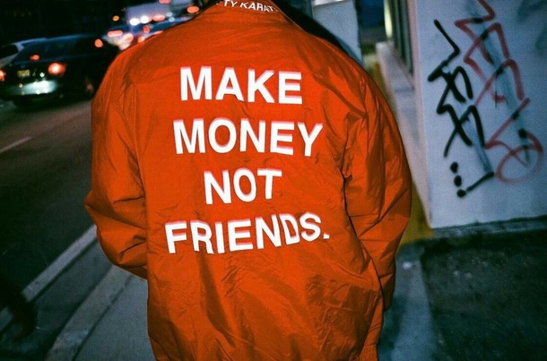 jacket red make money not friends