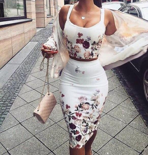 Dress White Dress White White Crop Tops Flowers Sexy Dress