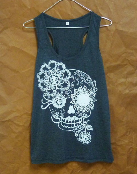 tank top skull sugar skull vintage flower flower vine sleevless shirt cute skull cute tank tops workout tank top
