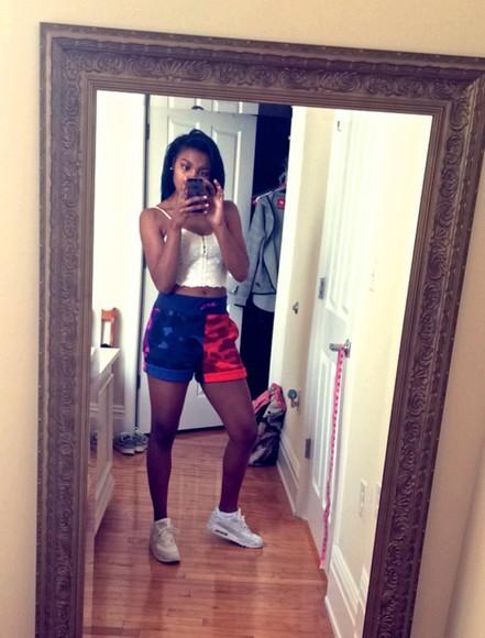 blue shorts camo shorts