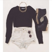 shirt,jewels,shoes,shorts,dress,top,sunglasses,High waisted shorts,combat boots,sweater,gold chain,round sunglasses,black,cozy,jumper,black sweater,winter jumper,small black boots,knitted sweater,blouse,tumblr clothes,tumblr shirt,tank top,boots,chain,denim,summer,white,black crop top,black ankle boots,knitted cardigan,cropped sweater,thick,cute black top,indie,long sleeves,knit,style,girl,swag,home accessory,grunge,dark,cardigan,black jumper,black cardigan,necklace,fashion,cuffed shorts