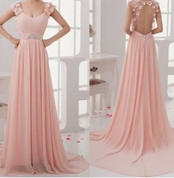 dress long prom dress party prom dress prom pink classy girly floral wedding dress