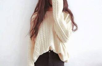 sweater white sweater large sweater big sweaters knitted sweater