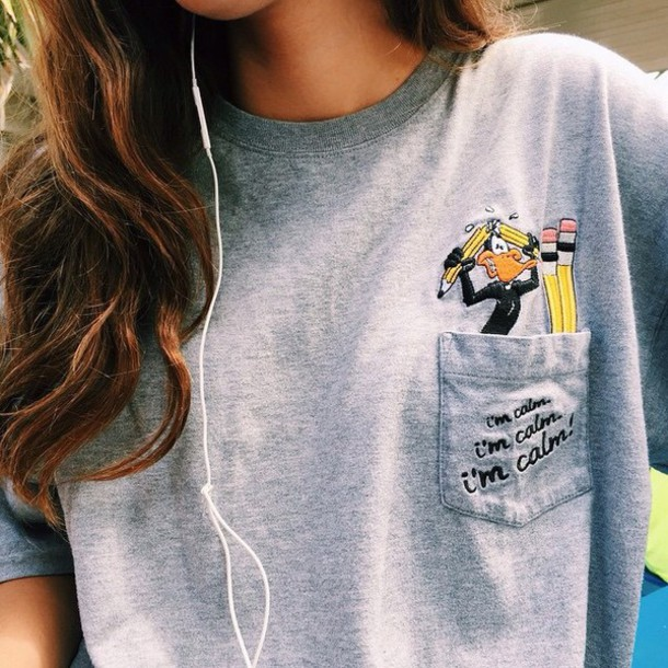 shirt duck pencils grey top t-shirt girl sw1 daffy t-shirt pocket tees warner brothers warner brothers productions daffy duck cartoon old cartoons pencils fashion pockets t-shirt calm cute pockets