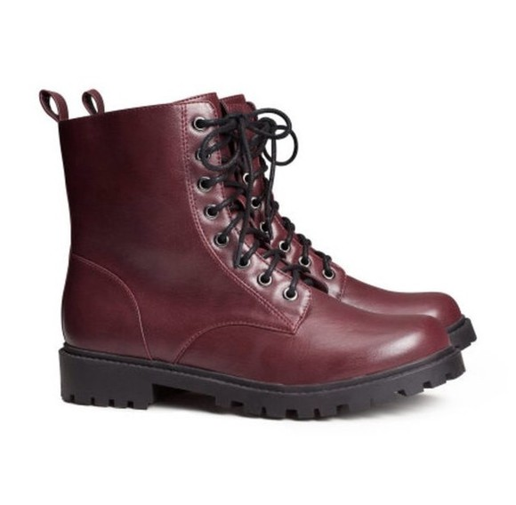 shoes boots ankle boots combat boots black lace ups maroon red leather