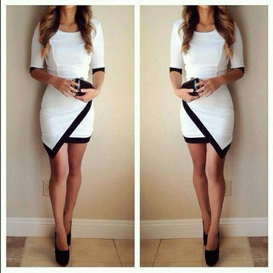 Color blocking hip packaged irregular black and white dress