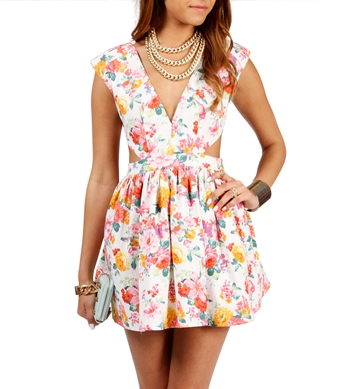 Order: floral print dress with cutouts