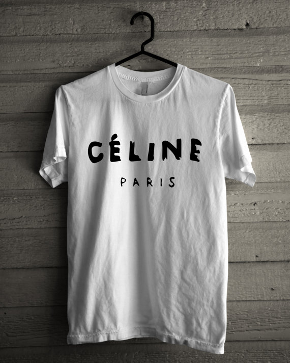 Celine paris logo hot costum made white tshirt by ideaclothing