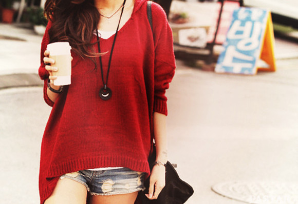 red sweater sweater red long sleeves knitwear shirt style casual beautiful