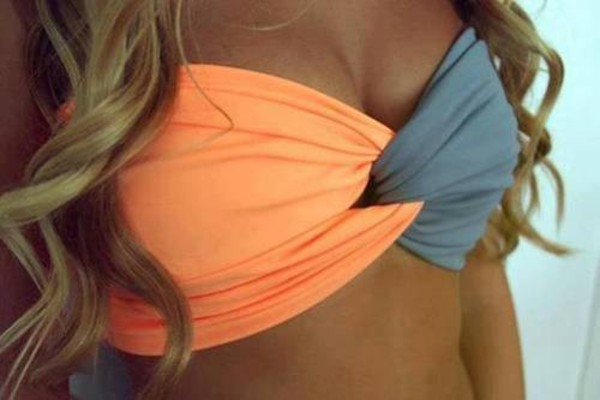 swimwear neon orange grey bikini bandeau bikini