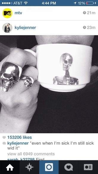 jewels skull ring skull body jewelry skull jewerly kylie jenner kylie jenner jewelry mug