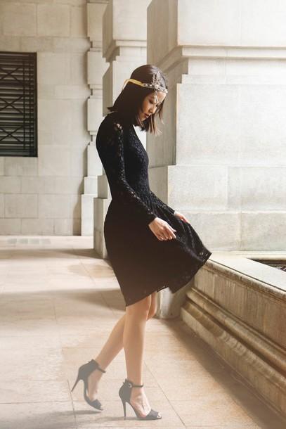 ulimali blogger black dress long sleeve dress black heels