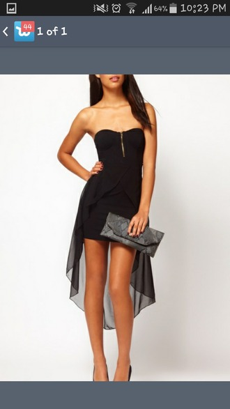 dress strapless dress high-low dresses black dress zip