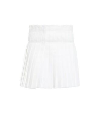 skirt wrap skirt pleated cotton white