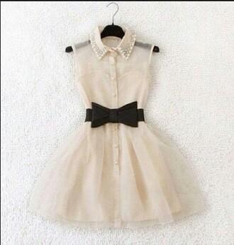 dress white dress peter pan collar dress black bow dress