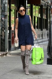 dress,navy,navy dress,vanessa hudgens,knee high boots,boots