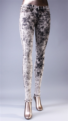 Acid Washed Skinny Jeans in Black by Flying Monkey @ Apparel Addiction - Jegging - Distressed