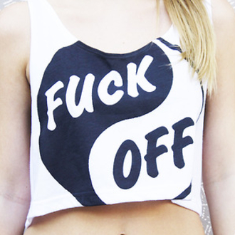 shirt ying yang black white fuck off crop tops tank top cute
