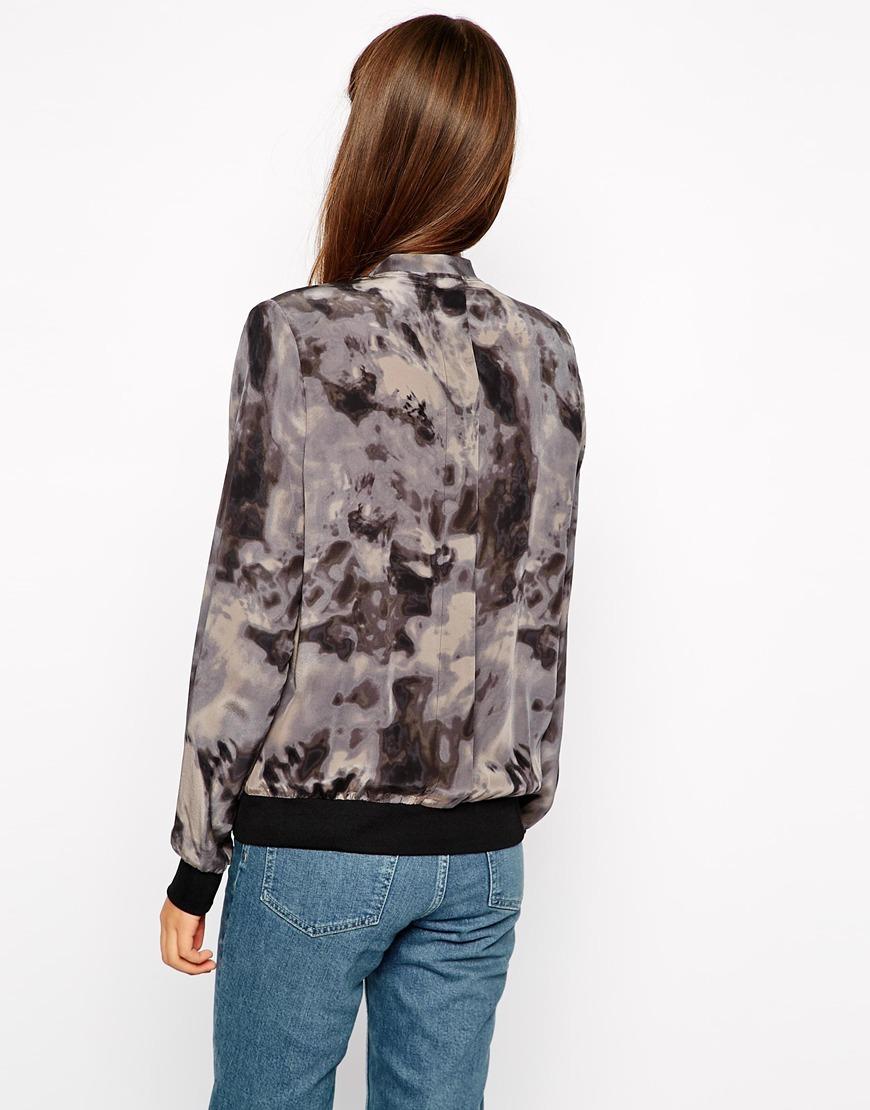 American Vintage Silk Printed Bomber Jacket at asos.com