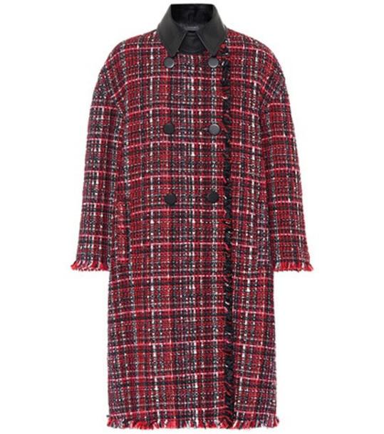 Alexander McQueen Tweed wool-blend coat in red