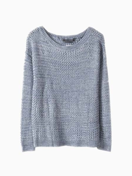 Blue Hollow Out Knit Sweater With Jag Back | Choies