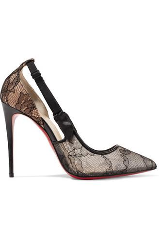 hot 100 pumps lace leather black satin shoes